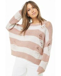 Forever 21 - Distressed Striped Knit Jumper Sweater - Lyst