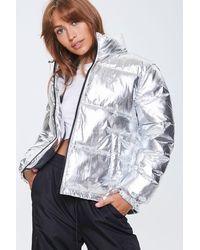 Forever 21 Metallic Puffer Jacket