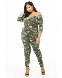 587a89ff98d Forever 21 Women s Plus Size Camo Print Playsuit in Green - Lyst