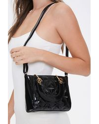 Forever 21 Faux Patent Leather Satchel In Black