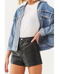 Forever 21 Faux Leather Shorts , Black