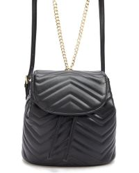 Forever 21 Faux Leather Chevron-quilted Mini Backpack - Black