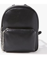 Forever 21 Faux Leather Chain-accent Backpack - Black