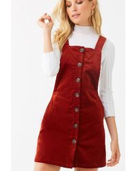 Forever 21 Corduroy Pinafore Dress , Camel - Red