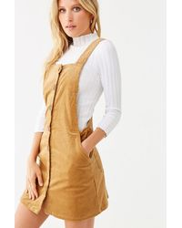 Forever 21 Corduroy Pinafore Dress - Red