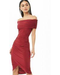 Forever 21 Vestido hombros descubiertos - Rojo
