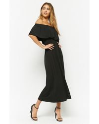 Forever 21 - Flounce Off-the-shoulder Maxi Dress - Lyst