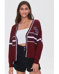 Forever 21 Nyc Varsity-striped Cardigan Sweater - Red