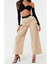 Missguided Wide-leg Cargo Pants At , Sand - Natural