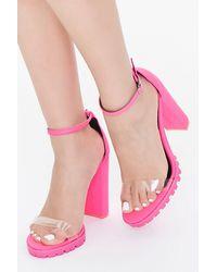 Forever 21 Clear-strap Platform Block Heels - Pink