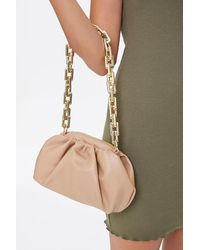 Forever 21 Faux Leather Chain Strap Clutch In Tan - Brown