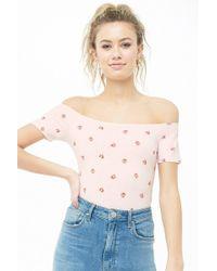 Forever 21 - Floral Print Off-the-shoulder Bodysuit - Lyst
