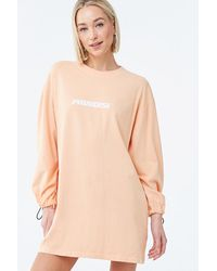 Forever 21 Paradise Graphic Sweatshirt Dress , Coral - Pink