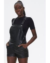 Forever 21 Faux Leather Overalls - Black