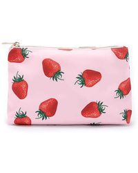 Forever 21 Strawberry Print Makeup Bag - Pink