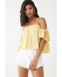 Forever 21 Tie-dye Open-shoulder Top , Yellow/cream