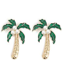 Forever 21 Palm Tree Stud Earrings , Gold/green - Multicolour