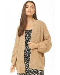 Forever 21 - Women's Marled Ribbed Open-front Cardigan Jumper - Lyst