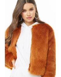 c6abddcc7 Forever 21 Contemporary Faux Fur Coat in Black - Lyst