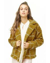 Forever 21 Grid Print Faux Shearling Coat , Citron/ivory - Multicolour