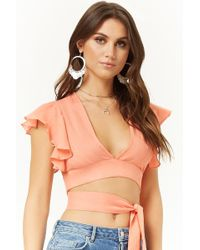 Forever 21 - Ruffle-sleeve Wrap Crop Top - Lyst