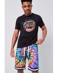 Forever 21 Tie-dye Wash Drawstring Shorts - Multicolour