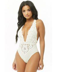 Forever 21 Semi-sheer Lace Bodysuit - White