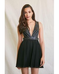 Forever 21 Faux Leather Fit & Flare Dress - Black