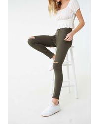 Forever 21 High-rise Skinny Jeans , Olive - Green