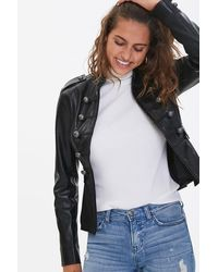 Forever 21 Faux Leather Bauble Jacket - Black