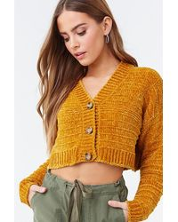 Forever 21 Chenille Cropped Cardigan - Multicolor