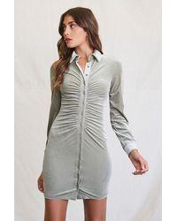 Forever 21 - Velvet Mini Shirt Dress - Lyst
