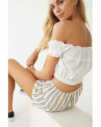 d6dbfb25cb6 Lyst - Forever 21 Lace-up Eyelet Tube Top in White
