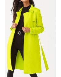 Forever 21 Faux Suede Belted Longline Jacket , Neon Green