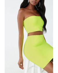 Forever 21 Bandage Cropped Tube Top & Skirt Set , Neon Green
