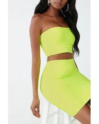 Forever 21 Bandage Cropped Tube Top & Skirt Set - Green