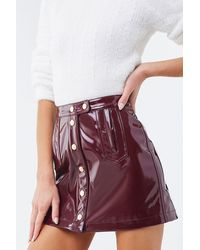 Forever 21 Faux Patent Leather Mini Skirt - Purple