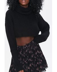 Forever 21 Cropped Turtleneck Sweater - Black