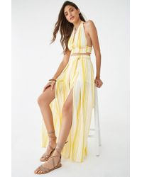 Forever 21 Crepe Striped Crop Top & Pant Set , Yellow/white