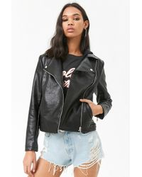 Forever 21 - Hooded Faux Leather Jacket - Lyst