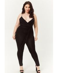 e2e5bedad834 Forever 21 Plus Size Ribbed Playsuit in Black - Lyst
