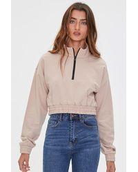 Forever 21 Fleece Half-zip Pullover - Multicolor
