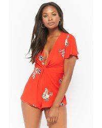 Forever 21 - Plunging Floral Print Romper - Lyst