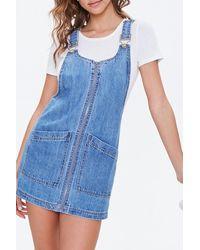 Forever 21 Denim Overall Mini Dress - Blue