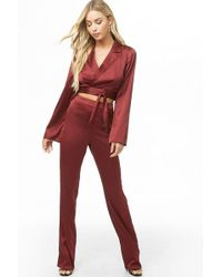 Forever 21 Satin Crop Top & Pants Set , Burgundy - Red