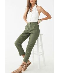 Forever 21 Linen-blend Ankle Pants , Olive - Green