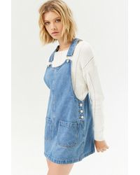 bb8222aca Forever 21 Buttoned Denim Overall Dress in Blue - Lyst
