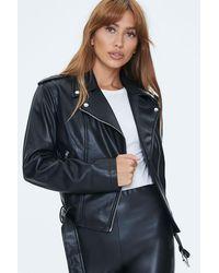 Forever 21 Faux Leather Moto Jacket - Black