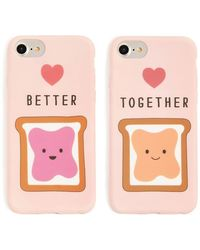 Forever 21 Better Together Phone Case Set For Iphone 6/7/8 , Pink/multi