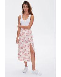 Forever 21 Floral Print Midi Skirt - Pink